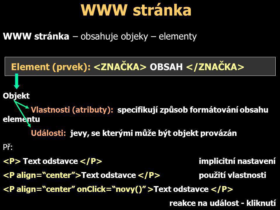 WWW stránka WWW stránka – obsahuje objeky – elementy Element (prvek): OBSAH Objekt Vlastnosti (atributy): specifikují způsob formátování obsahu elemen