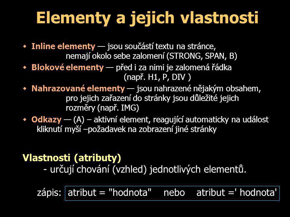 Elementy a jejich vlastnosti  Inline elementy — jsou součástí textu na stránce, nemají okolo sebe zalomení (STRONG, SPAN, B)  Blokové elementy — před i za nimi je zalomená řádka (např.