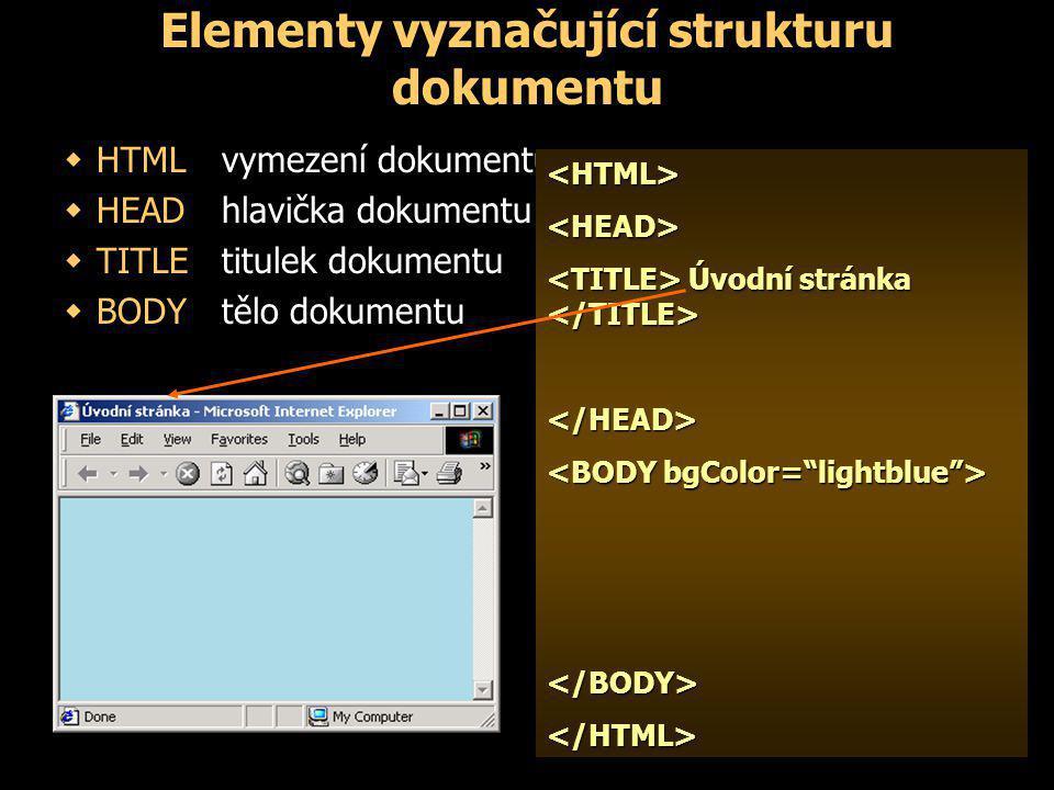 Elementy vyznačující strukturu dokumentu  HTMLvymezení dokumentu  HEADhlavička dokumentu  TITLEtitulek dokumentu  BODYtělo dokumentu <HTML><HEAD> Úvodní stránka Úvodní stránka </HEAD> </BODY></HTML><HTML><HEAD> Úvodní stránka Úvodní stránka </HEAD> </BODY></HTML>