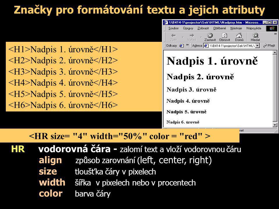 Značky pro formátování textu a jejich atributy Nadpis 1. úrovně Nadpis 2. úrovně Nadpis 3. úrovně Nadpis 4. úrovně Nadpis 5. úrovně Nadpis 6. úrovně H
