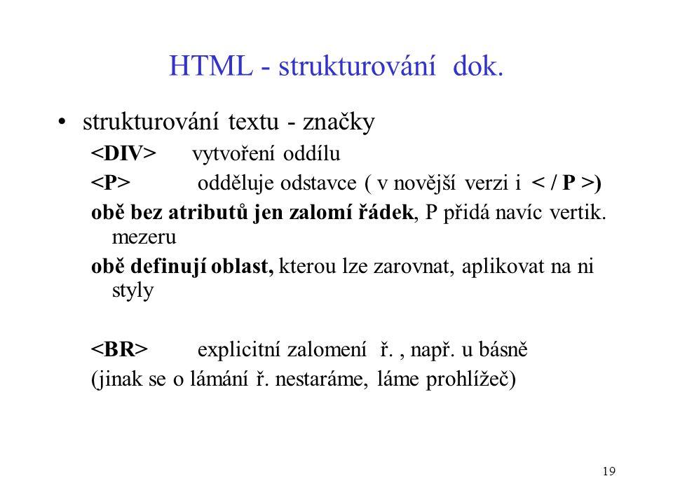 19 HTML - strukturování dok.