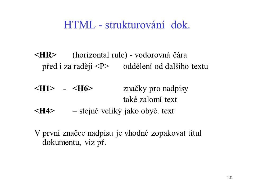 20 HTML - strukturování dok.