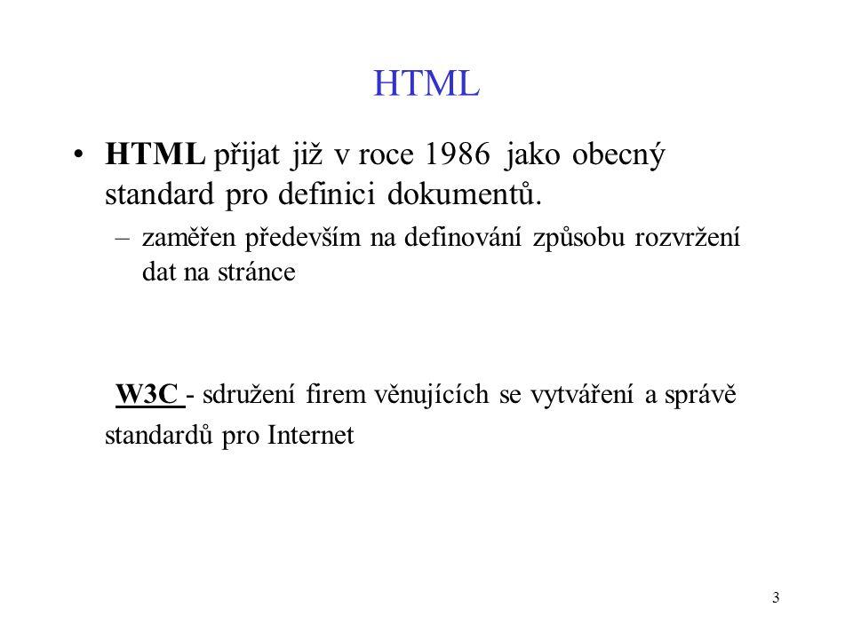 3 HTML HTML přijat již v roce 1986 jako obecný standard pro definici dokumentů.