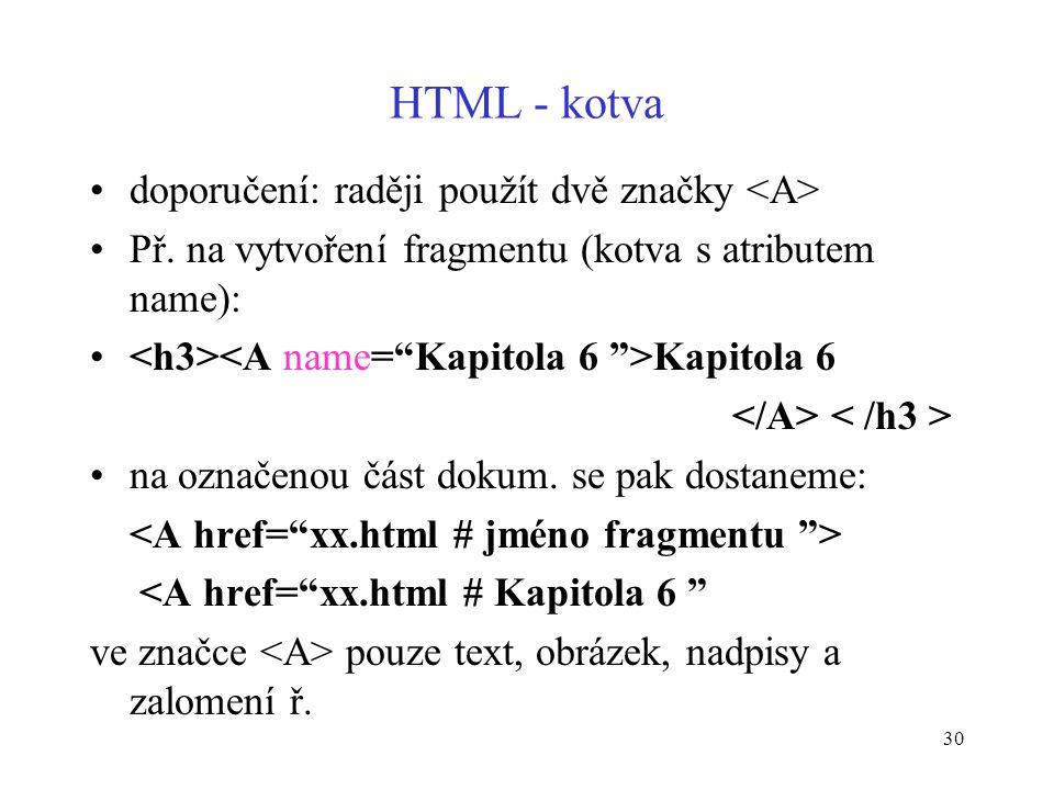 30 HTML - kotva doporučení: raději použít dvě značky Př.