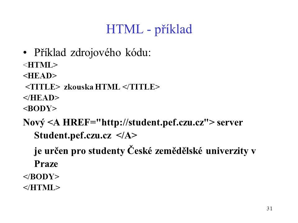 31 HTML - příklad Příklad zdrojového kódu: zkouska HTML Nový server Student.pef.czu.cz je určen pro studenty České zemědělské univerzity v Praze