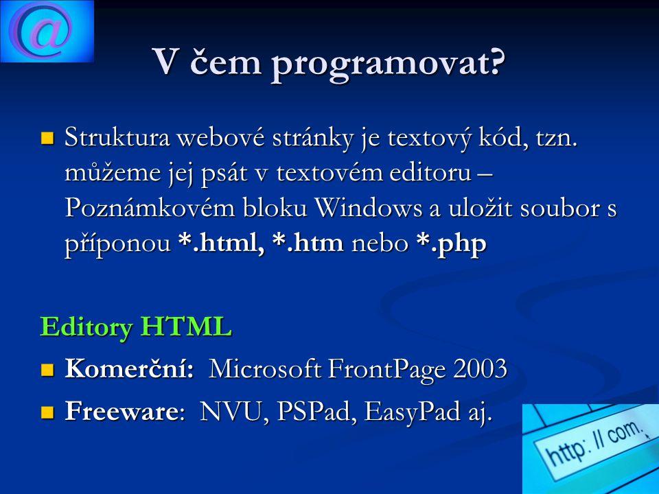 V čem programovat. Struktura webové stránky je textový kód, tzn.