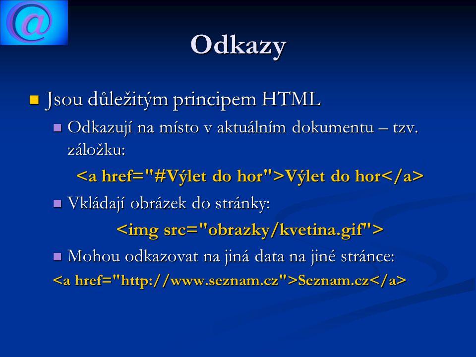 Odkazy Jsou důležitým principem HTML Jsou důležitým principem HTML Odkazují na místo v aktuálním dokumentu – tzv.