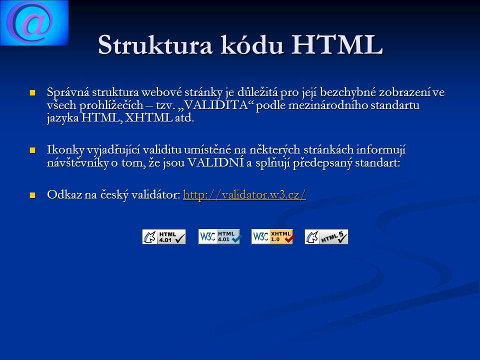 Základní části stránky 1.......jde o označení typu dokumentu, verze HTML 2.....