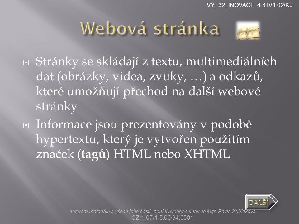 VY_32_INOVACE_4.3.IV1.02/Ku  Soubory s příponou.html  Stránka se dá otevřít dvěma způsoby:  www stránka (v prohlížeči), pak se nedá upravovat.