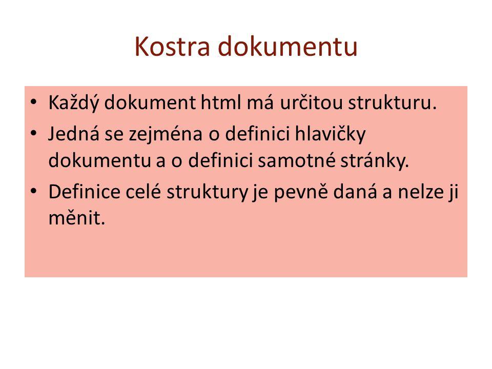 Kostra dokumentu Každý dokument html má určitou strukturu. Jedná se zejména o definici hlavičky dokumentu a o definici samotné stránky. Definice celé