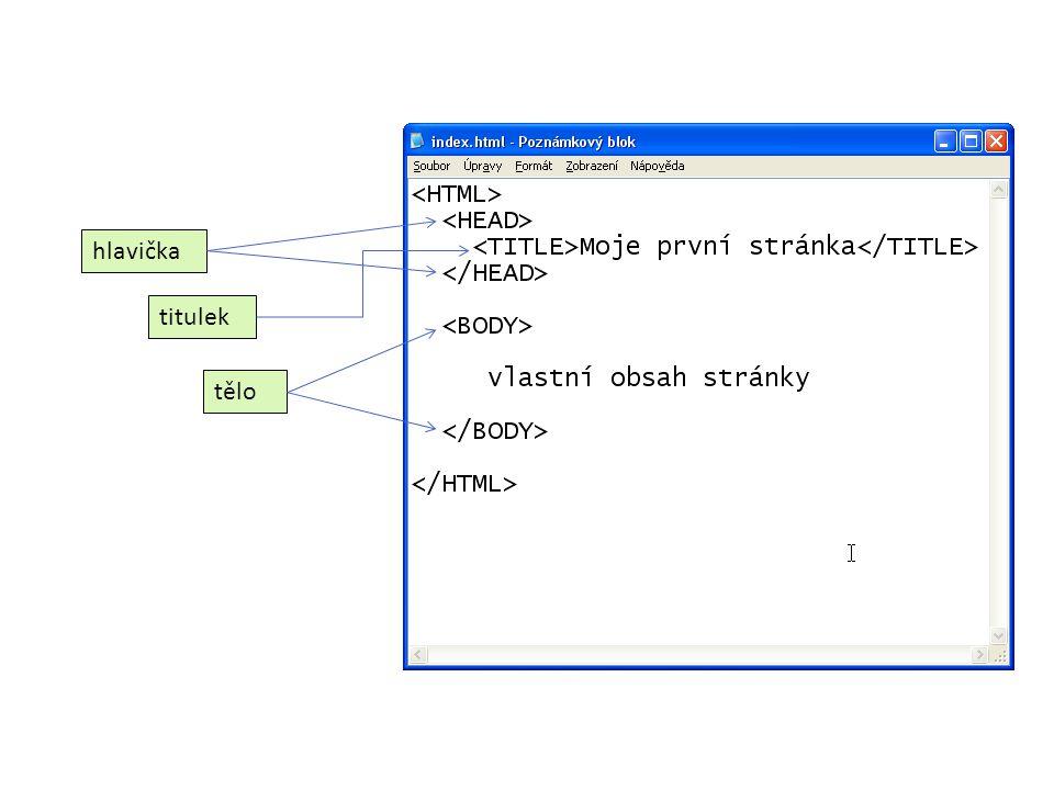 Tag HTML HTML je párový tag, který ohraničuje celý dokument.