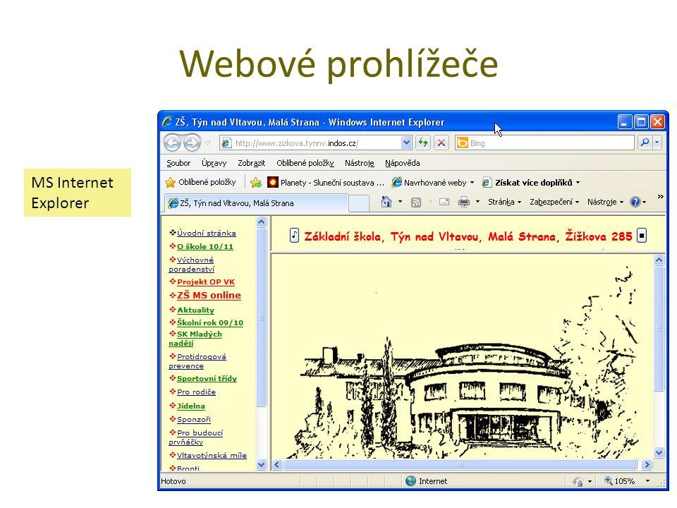 Webové prohlížeče MS Internet Explorer