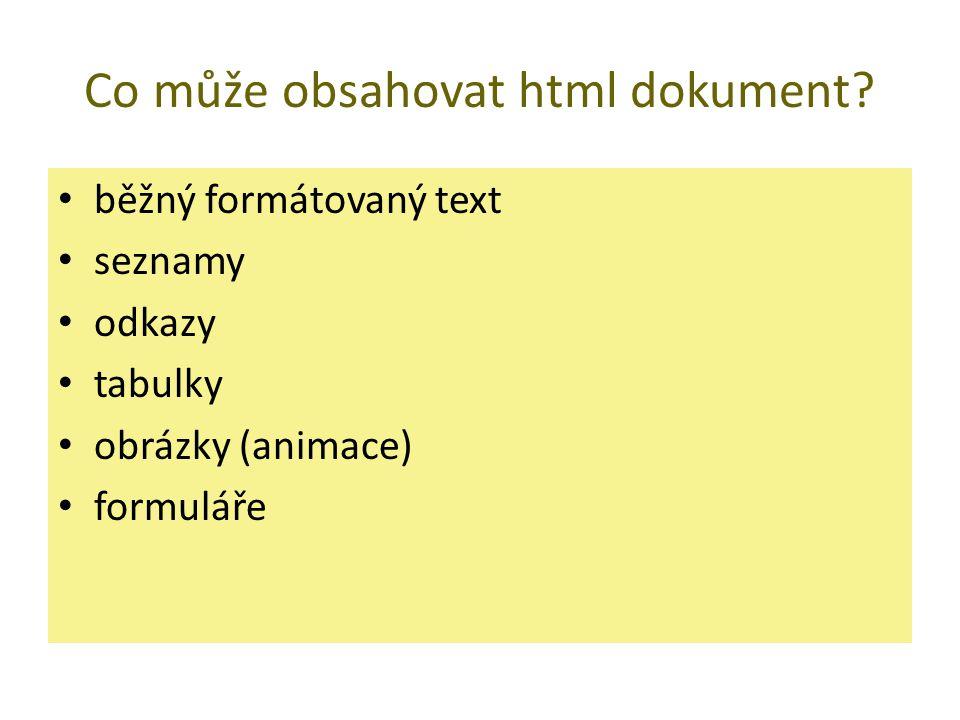 Co může obsahovat html dokument? běžný formátovaný text seznamy odkazy tabulky obrázky (animace) formuláře