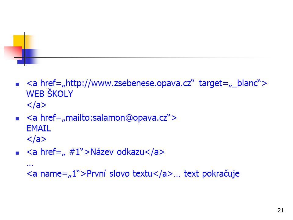 WEB ŠKOLY EMAIL Název odkazu … První slovo textu … text pokračuje 21