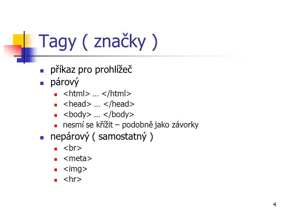 Tagy ( značky ) příkaz pro prohlížeč párový … nesmí se křížit – podobně jako závorky nepárový ( samostatný ) 4