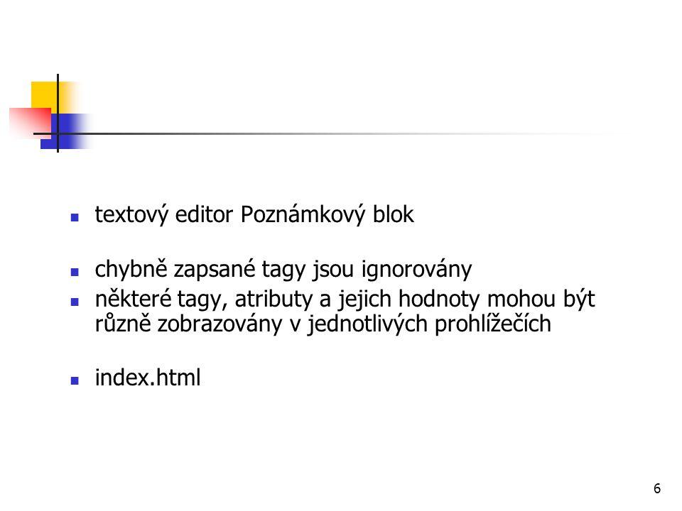textový editor Poznámkový blok chybně zapsané tagy jsou ignorovány některé tagy, atributy a jejich hodnoty mohou být různě zobrazovány v jednotlivých prohlížečích index.html 6