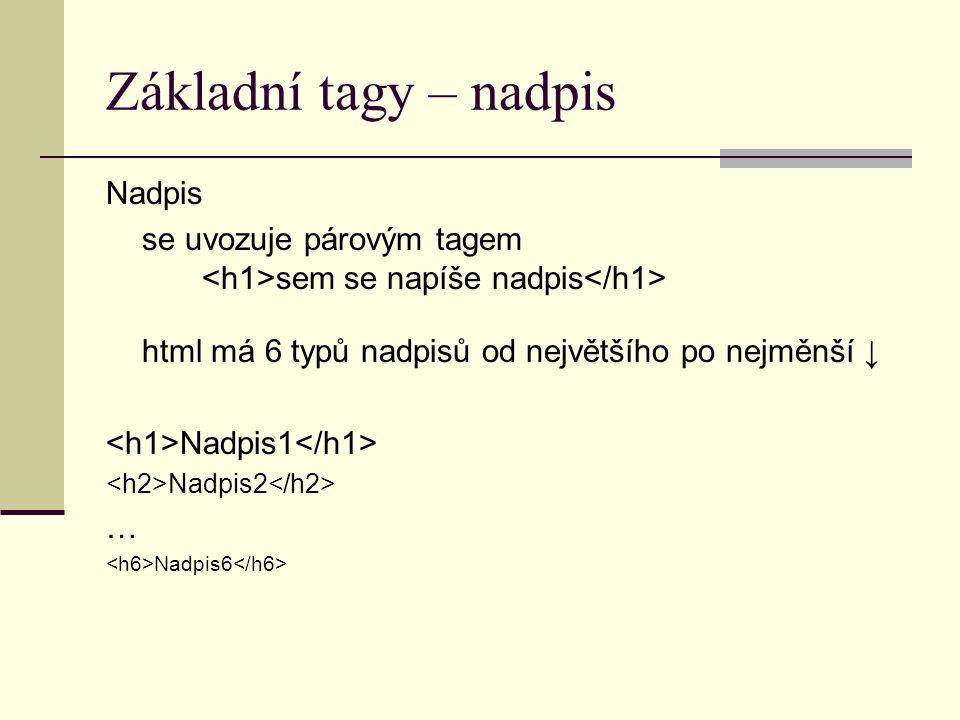 Základní tagy – nadpis Nadpis se uvozuje párovým tagem sem se napíše nadpis html má 6 typů nadpisů od největšího po nejměnší ↓ Nadpis1 Nadpis2 … Nadpi