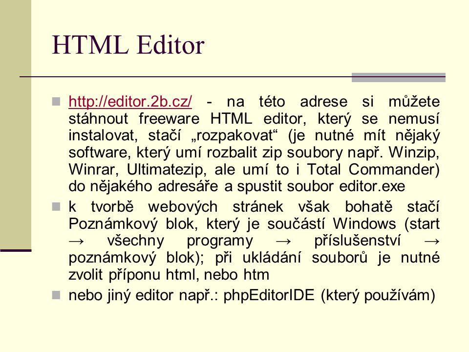 """První stránka 1 spustit HTML Editor uložit (zatím prázdný) soubor na námi požadované místo soubor → uložit jako název souboru: index typ souboru necháme uložit nahoře v hlavní nabídce HTML → nová HTML struktura → normální dokumet a na monitoru by mělo být to, co je na další stránce spustit poznámkový blok (pokud nemáte HTML Editor, nebo jiný editor) uložit (zatím prázdný) soubor na námi požadované místo soubor → uložit jako název souboru: index.html typ souboru změníme na """"všechny soubory uložit do souboru opište html strukturu, která je na další stránce"""