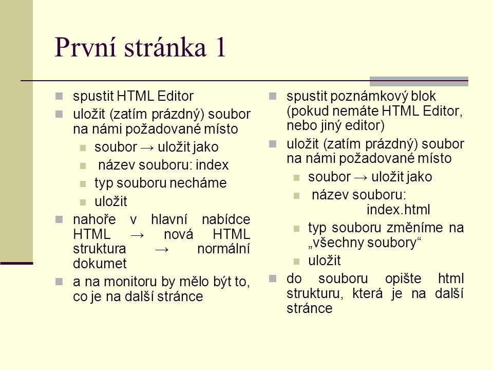 Struktura souboru html název stránky vlastní obsah stránky Vysvětlivky celý soubor je ohraničen párovým tagem nahoře – začátek dole – konec (koncové tagy mají / ) mezi párovým tagem je hlavička html stránky, která se nezobrazuje; píší se tam informace o stránce (a další důležité věci); nám zatím bude stačit tag, kde se píše název stránky mezi tag se píše vlastní tělo (obsah) stránky