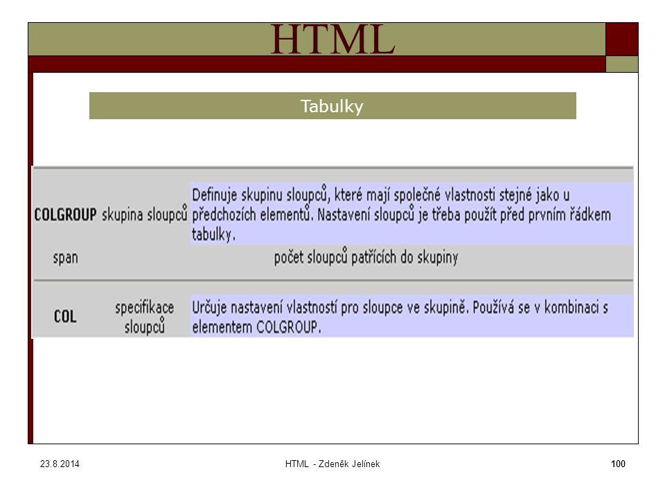 23.8.2014HTML - Zdeněk Jelínek100 HTML Tabulky