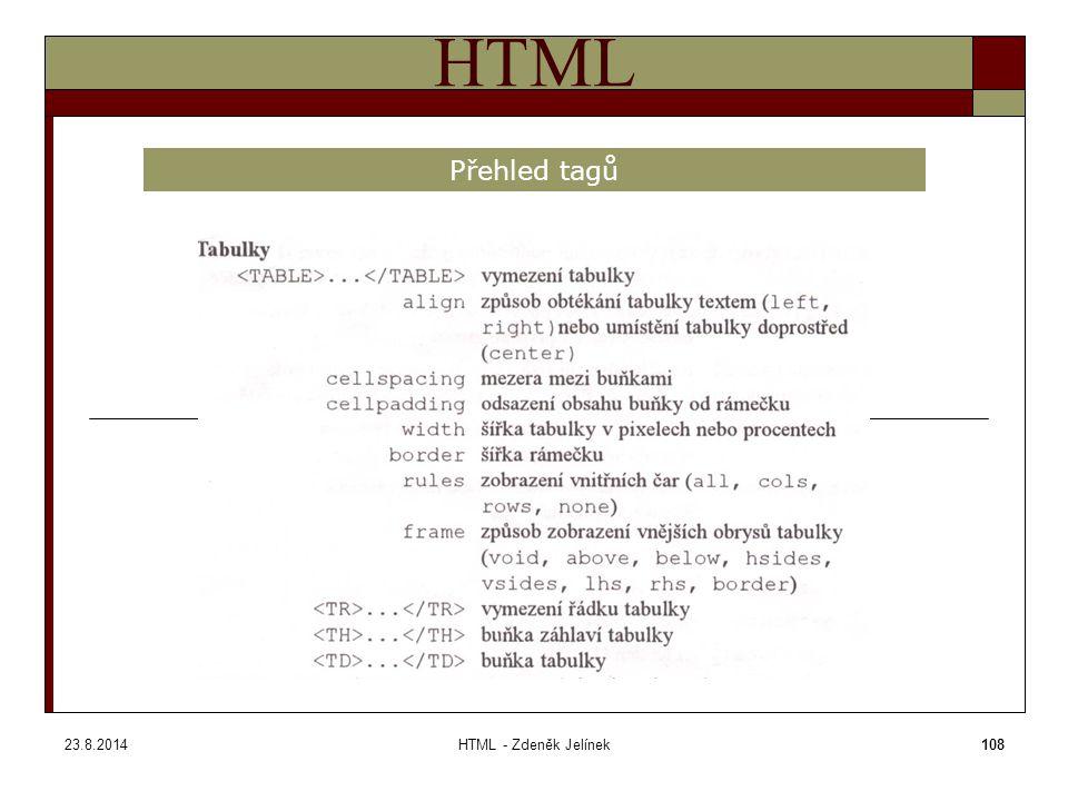 23.8.2014HTML - Zdeněk Jelínek108 HTML Přehled tagů