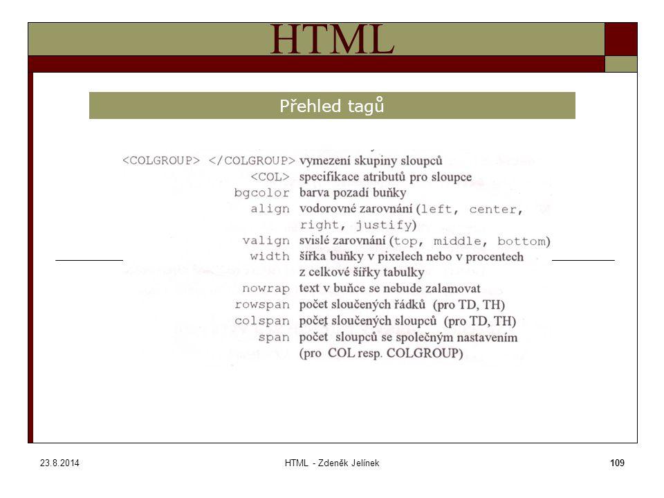 23.8.2014HTML - Zdeněk Jelínek109 HTML Přehled tagů