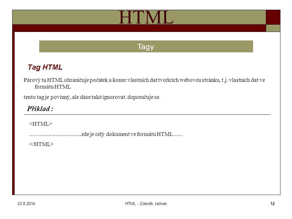 23.8.2014HTML - Zdeněk Jelínek12 HTML Tag HTML Tagy Párový ta HTML ohraničuje počátek a konec vlastních dat tvořících webovou stránku, t.j.