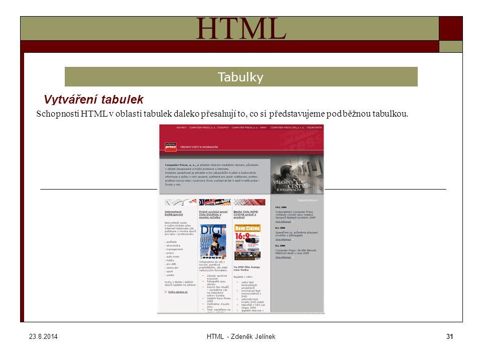 23.8.2014HTML - Zdeněk Jelínek31 HTML Vytváření tabulek Tabulky Schopnosti HTML v oblasti tabulek daleko přesahují to, co si představujeme pod běžnou tabulkou.