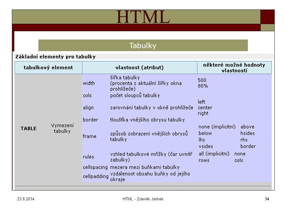 23.8.2014HTML - Zdeněk Jelínek34 HTML Tabulky