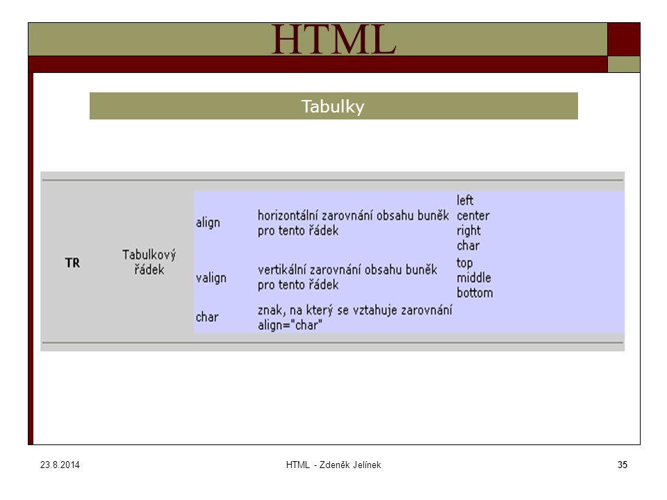 23.8.2014HTML - Zdeněk Jelínek35 HTML Tabulky