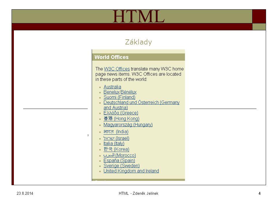 23.8.2014HTML - Zdeněk Jelínek25 HTML Tag BODY – zadávání barev Tagy Barvy – názvy barevBarvy – názvy barev - základní Barvy – názvy barev – další paleta