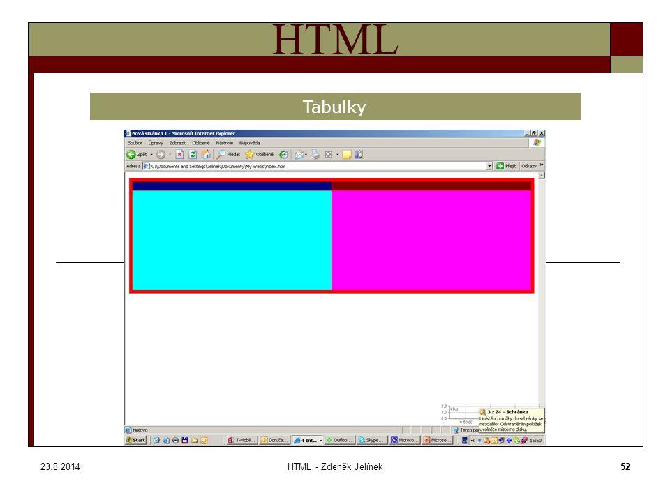 23.8.2014HTML - Zdeněk Jelínek52 HTML Tabulky