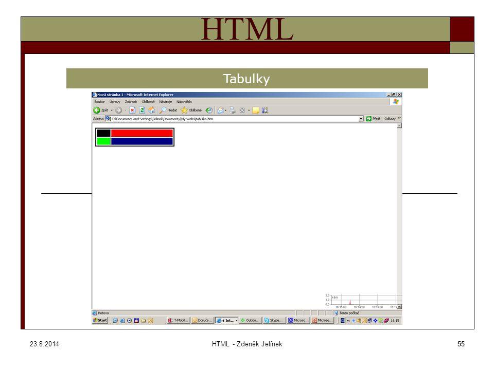 23.8.2014HTML - Zdeněk Jelínek55 HTML Tabulky