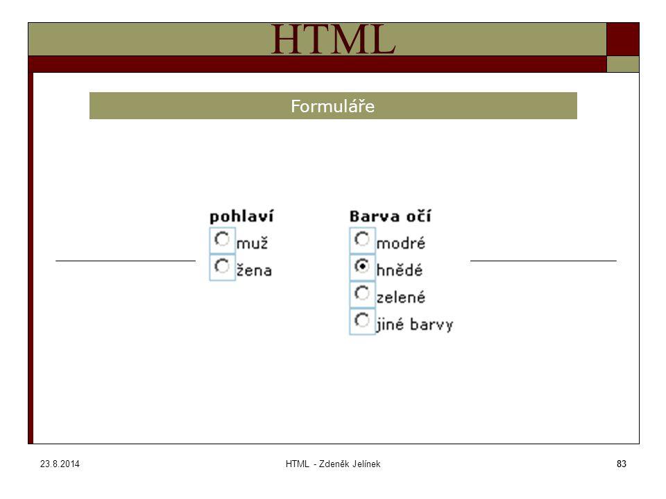 23.8.2014HTML - Zdeněk Jelínek83 HTML Formuláře