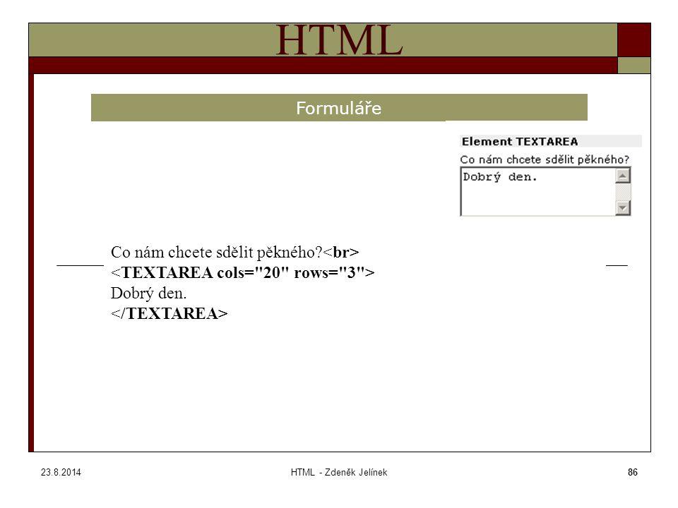 23.8.2014HTML - Zdeněk Jelínek86 HTML Formuláře Co nám chcete sdělit pěkného Dobrý den.