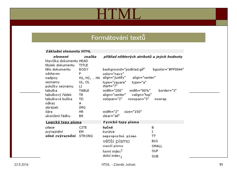 23.8.2014HTML - Zdeněk Jelínek91 HTML Formátování textů