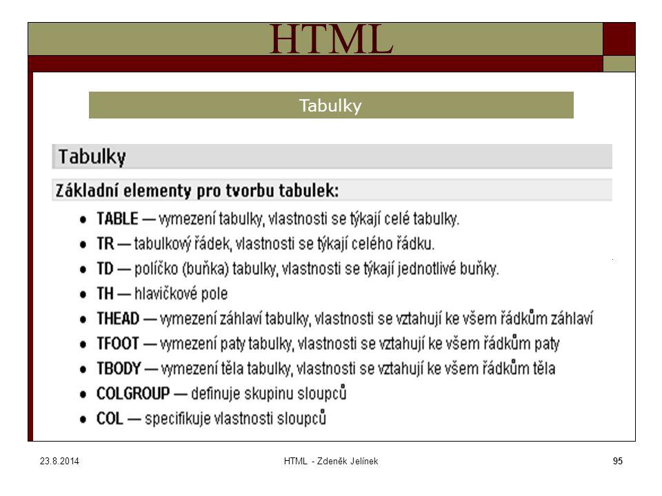 23.8.2014HTML - Zdeněk Jelínek95 HTML Tabulky