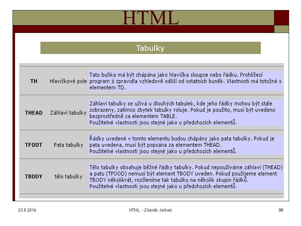 23.8.2014HTML - Zdeněk Jelínek99 HTML Tabulky