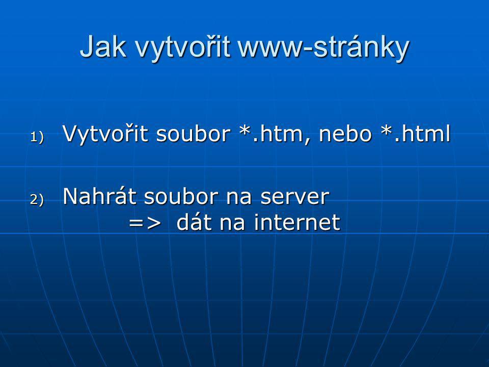 Jak vytvořit www-stránky 1) Vytvořit soubor *.htm, nebo *.html 2) Nahrát soubor na server =>dát na internet