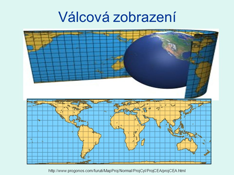 Zdroje: http://en.wikipedia.org/wiki/Map_projection http://atlas.nrcan.gc.ca/site/english/learningresources/carto_corner/proj_3.gif/image_view http://nationalatlas.gov/articles/mapping/a_projections.html http://www.progonos.com/furuti/MapProj/Normal/ProjCyl/ProjCEA/projCEA.html