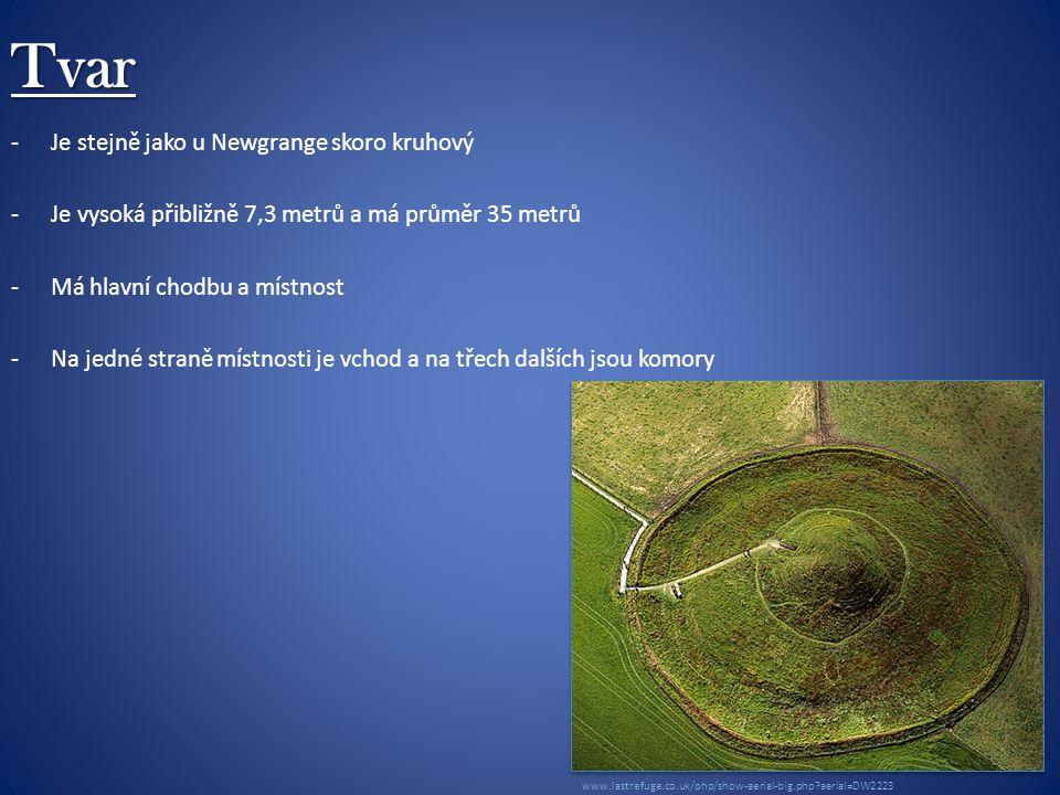 Tvar -Je stejně jako u Newgrange skoro kruhový -Je vysoká přibližně 7,3 metrů a má průměr 35 metrů -Má hlavní chodbu a místnost -Na jedné straně místnosti je vchod a na třech dalších jsou komory www.lastrefuge.co.uk/php/show-aerial-big.php aerial=DW2223