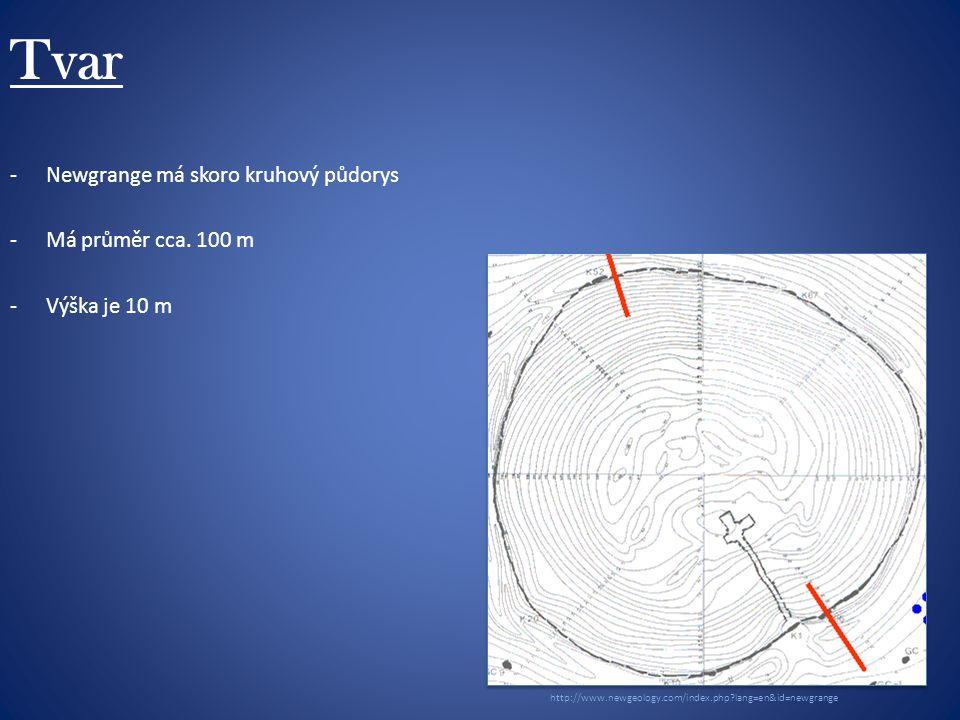 Tvar -Newgrange má skoro kruhový půdorys -Má průměr cca.