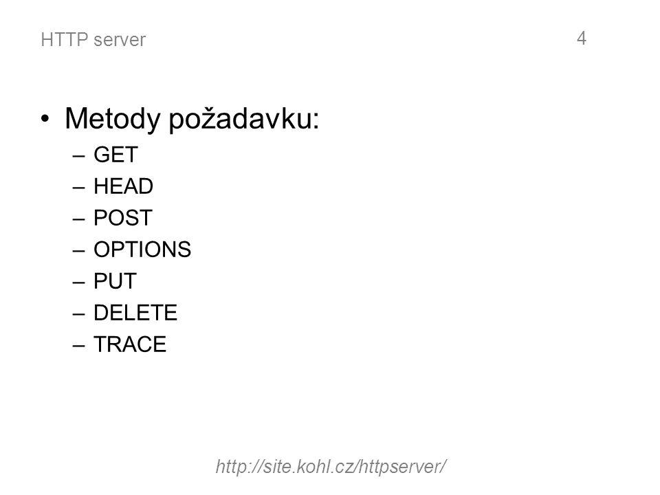 HTTP server Stavové kódy a hlášení 1**Informační 2**Úspěšné vyřízení požadavku 3**Přesměrování 4**Chyba klienta 5**Chyba na straně serveru Příklad odpovědi serveru:HTTP/1.1 200 OK http://site.kohl.cz/httpserver/ 5