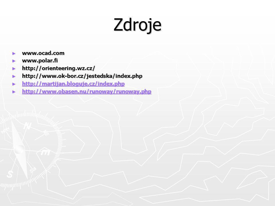 Zdroje ► www.ocad.com ► www.polar.fi ► http://orienteering.wz.cz/ ► http://www.ok-bor.cz/jestedska/index.php ► http://martijan.bloguje.cz/index.php http://martijan.bloguje.cz/index.php ► http://www.obasen.nu/runoway/runoway.php http://www.obasen.nu/runoway/runoway.php