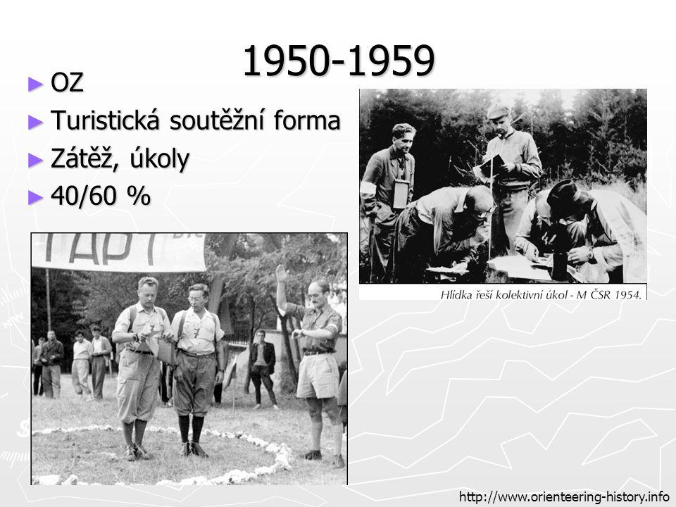 1950-1959 ► OZ ► Turistická soutěžní forma ► Zátěž, úkoly ► 40/60 % http://www.orienteering-history.info
