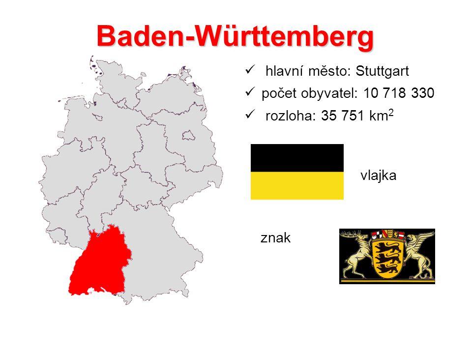 Baden-Württemberg hlavní město: Stuttgart počet obyvatel: 10 718 330 rozloha: 35 751 km 2 vlajka znak