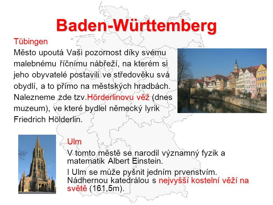 Baden-Württemberg Tübingen Město upoutá Vaši pozornost díky svému malebnému říčnímu nábřeží, na kterém si jeho obyvatelé postavili ve středověku svá obydlí, a to přímo na městských hradbách.