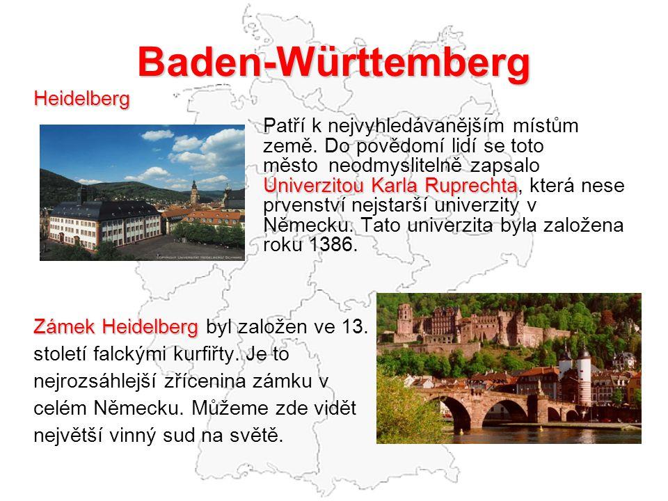 Baden-Württemberg Heidelberg Univerzitou Karla Ruprechta Patří k nejvyhledávanějším místům země.