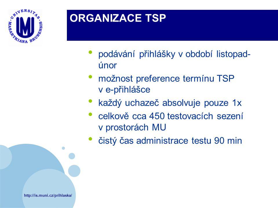 http://is.muni.cz/prihlaska/ ORGANIZACE TSP podávání přihlášky v období listopad- únor možnost preference termínu TSP v e-přihlášce každý uchazeč abso