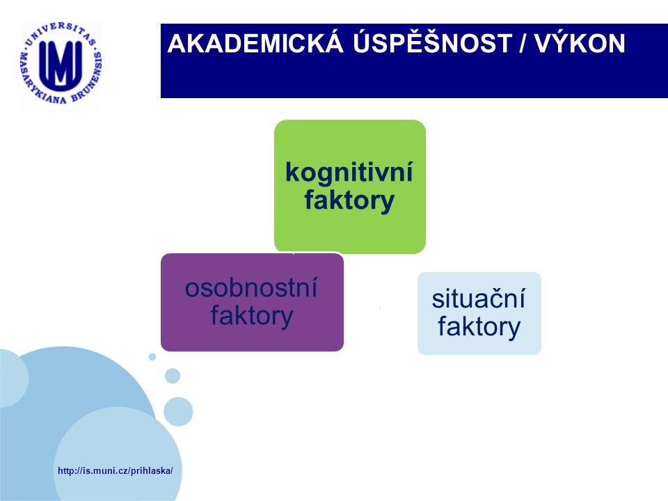 http://is.muni.cz/prihlaska/ AKADEMICKÁ ÚSPĚŠNOST / VÝKON kognitivní faktory situační faktory osobnostní faktory